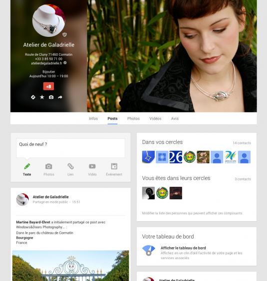 Page Google+ Atelier de Galadrielle