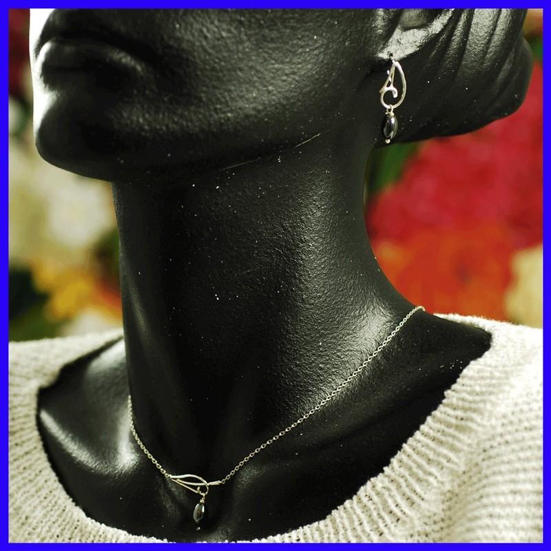 Parure collier+Boucles doreilles Argent massif 925/°/°/°Perles Lapis-Lazuli garanti